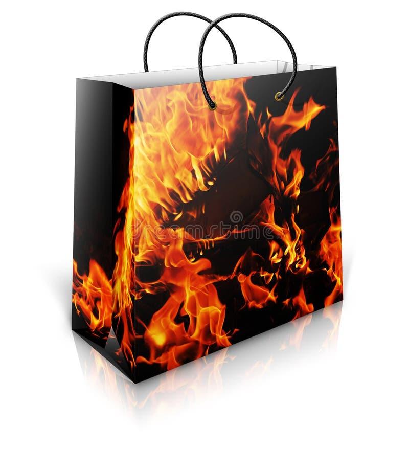 Хозяйственная сумка с предпосылкой firey стоковое изображение