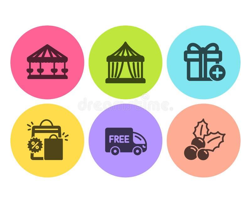 Хозяйственные сумки, добавляют набор подарка и значков бесплатной доставки Шатер цирка, падуб Carousels и рождества знаки вектор иллюстрация вектора