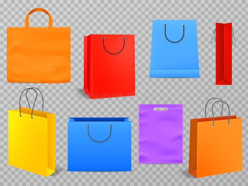 Хозяйственные сумки цвета Пустая сумка моды белой бумаги сумки продуктов с ручкой 3d изолировала вектор пакета бакалеи иллюстрация штока