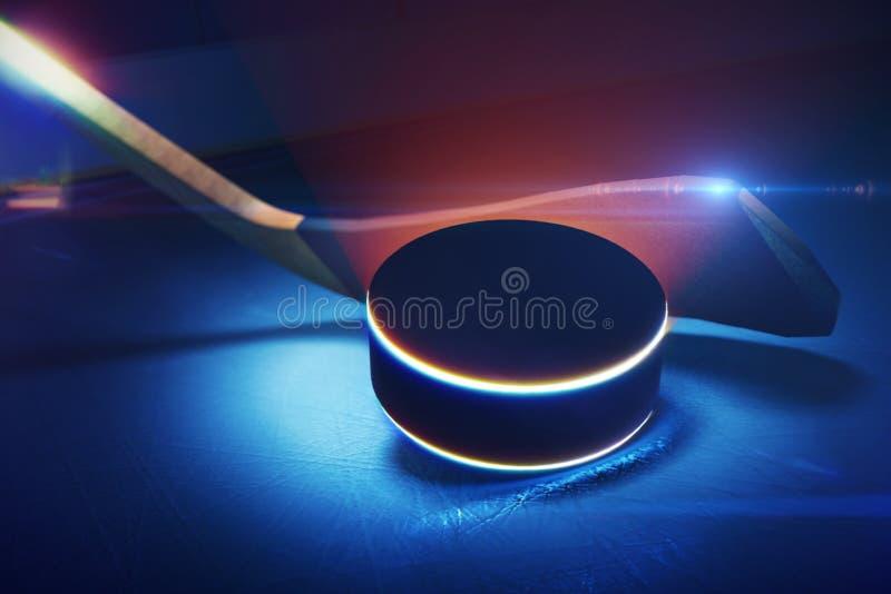 Хоккейная клюшка и шайба на катке иллюстрация вектора