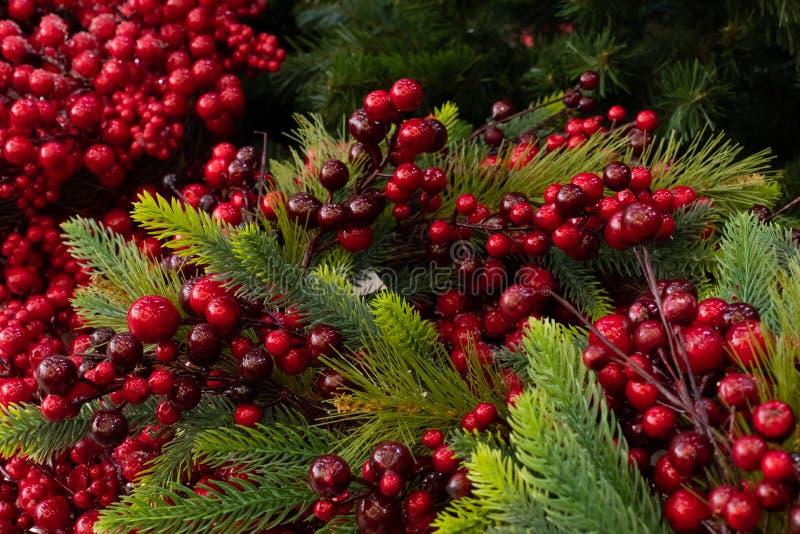 Холли и рождественская елка Новогоднее рождественское украшение, фон фона Искусственное рождественское дерево и декоративно-красн стоковая фотография