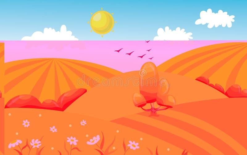 Холмистый ландшафт поля с деревом alien кот шаржа избегает вектор крыши иллюстрации иллюстрация вектора