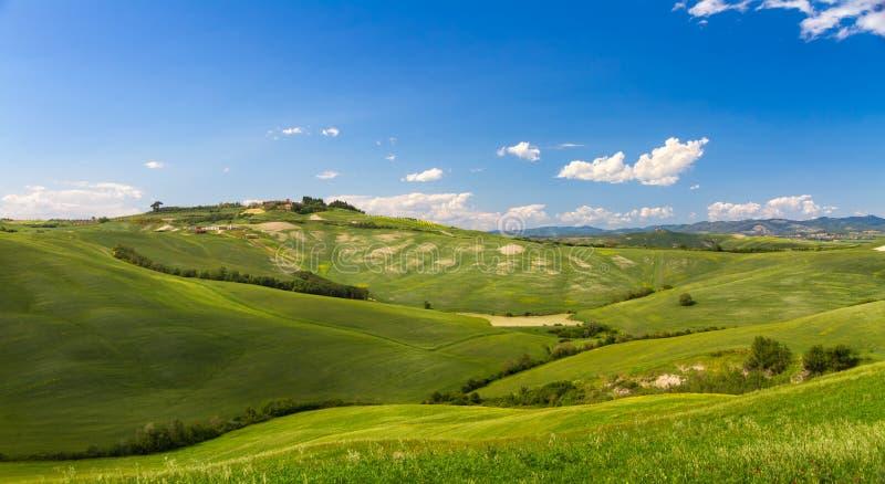 Холмистый ландшафт с голубыми небесами в Крете Senesi, Asciano, Сиене, Италии стоковые фотографии rf