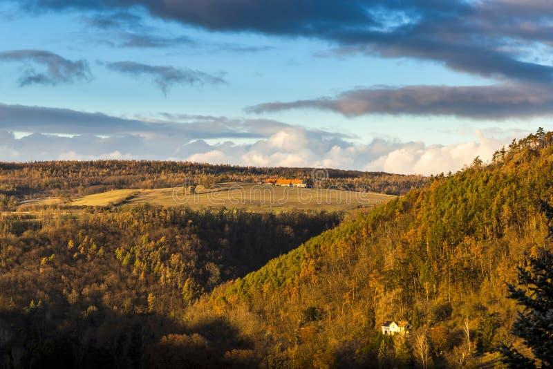 Холмы и луга осени на заходе солнца стоковые фотографии rf
