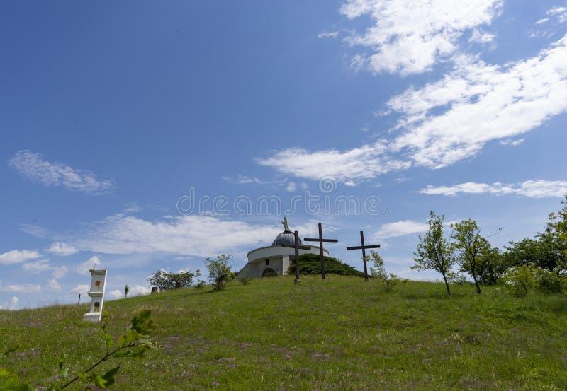 Холм Голгофы в Hercegkut около Sarospatak Венгрия стоковые фотографии rf