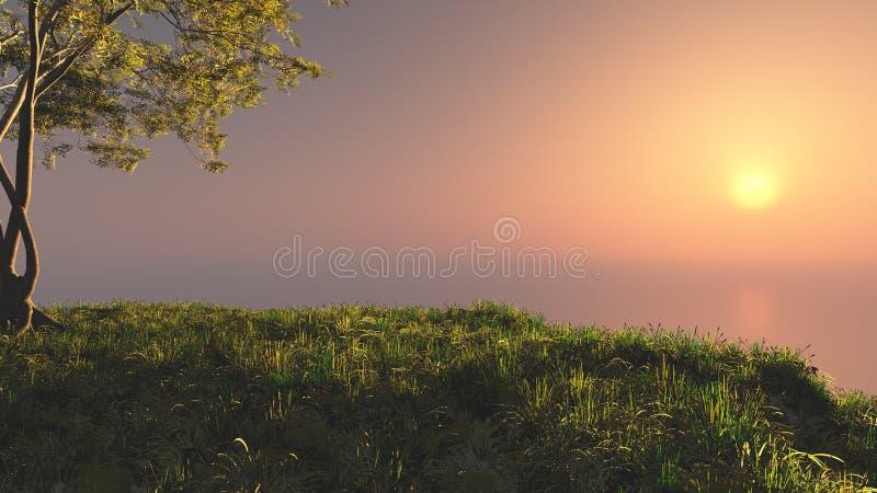 Холм захода солнца фантазии иллюстрация штока