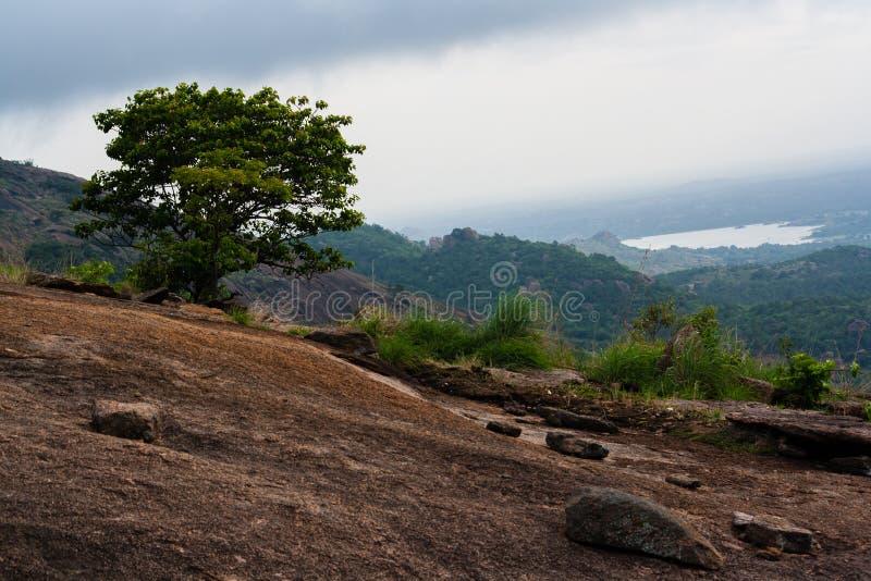 Холм и озеро стоковые фотографии rf