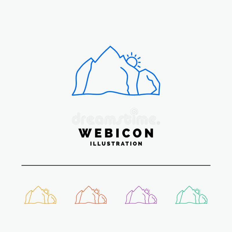 холм, ландшафт, природа, гора, шаблон значка сети цветного барьера сцены 5 изолированный на белизне r иллюстрация вектора