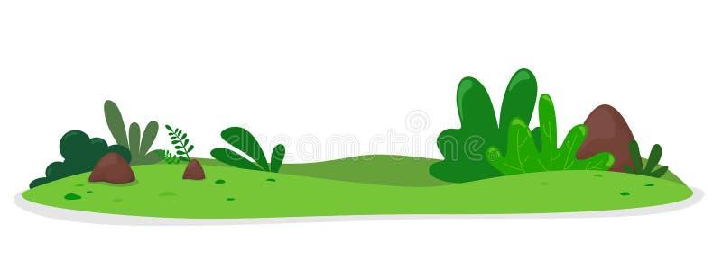 Холм овоща с кустами и камнями Иллюстрация вектора в стиле мультфильма плоском E иллюстрация вектора