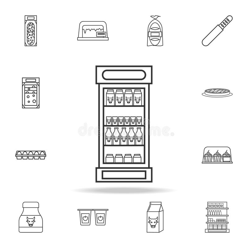 холодильник с бутылками значка молока Детальный комплект магазинов и значков гипермаркета Наградной качественный графический диза иллюстрация вектора