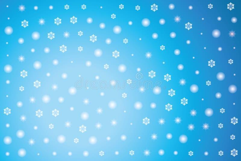 Холодная голубая предпосылка зимы со снежинками и звездами иллюстрация вектора