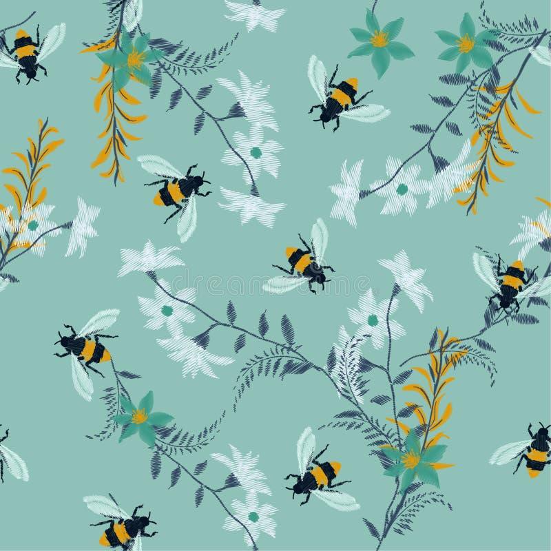 Холодная пчела меда вышивки, с полевыми цветками много вид flor бесплатная иллюстрация