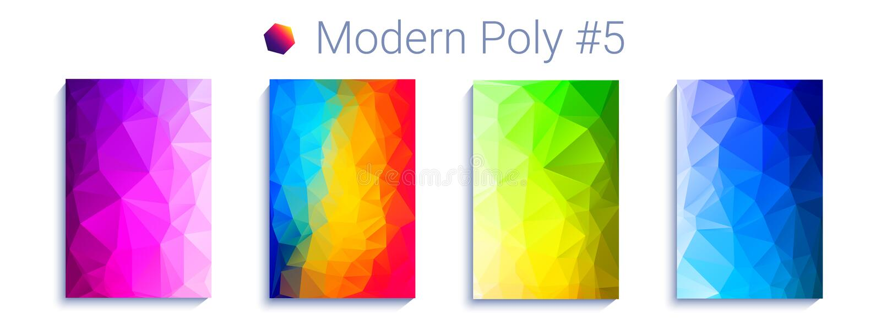 Холодная триангулярная предпосылка градиента Современная абстрактная геометрическая картина Яркие обои colorfull вектор иллюстрация штока