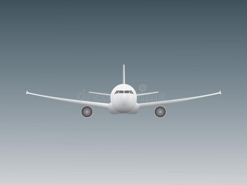 Холодное красивое белое летание самолета двигателя в небе для индустрии дела авиакомпании иллюстрация штока