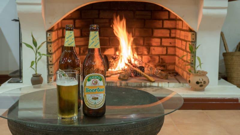 Холодное пиво перед огнем стоковые изображения rf