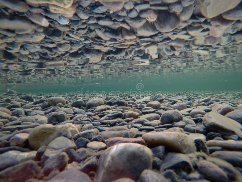 Холодное подводное русло реки с совершенным отражением на поверхности стоковые фотографии rf