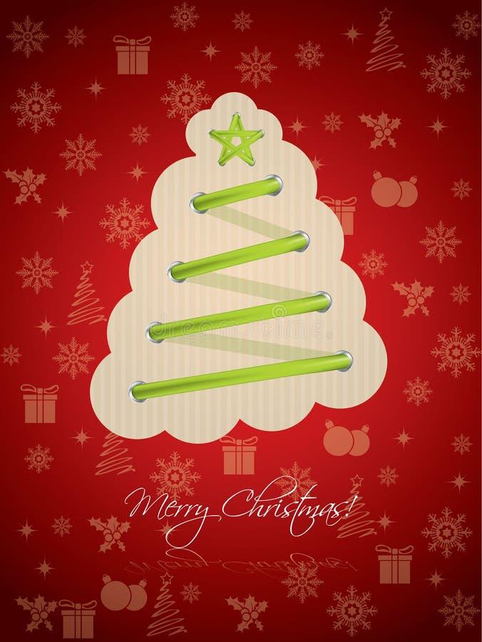 Холодное приветствие рождества с зелеными шнурками иллюстрация вектора