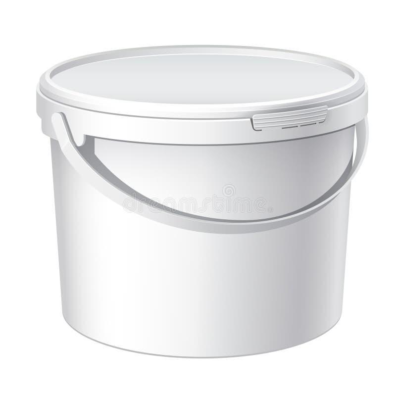 Холодное реалистическое белое пластичное ведро. Вектор иллюстрация вектора