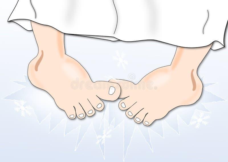холодные ноги иллюстрация вектора