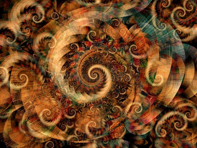 холодные фрактали закручивают в спираль свирли иллюстрация вектора