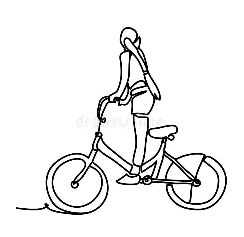 Холодный дизайн характера вектора на взрослом катании молодой женщины bicycles Непрерывная линия чертеж Изолировано на белизне иллюстрация штока