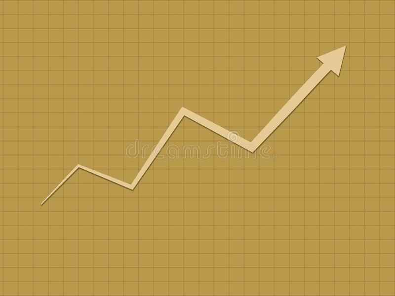Холодный и простой золотой поднимающий вверх рост тенденции для диаграммы успеха для дела и финансовый прогресс с линией зигзага иллюстрация вектора