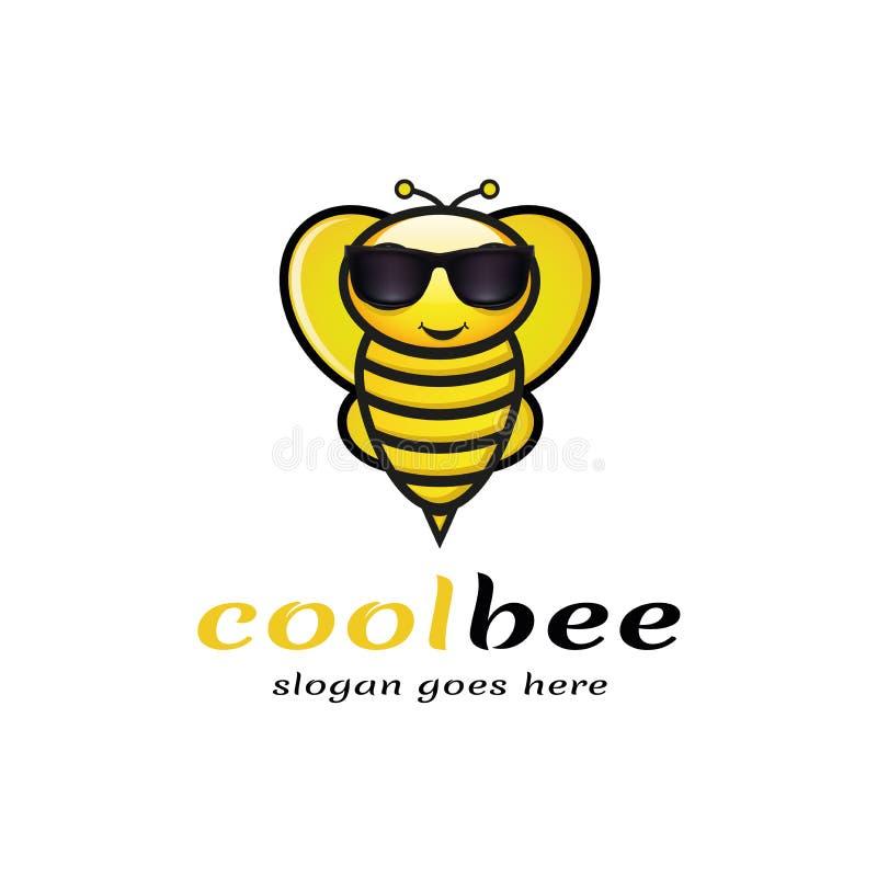 Холодный логотип пчелы иллюстрация вектора