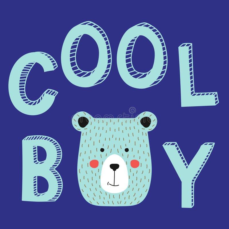 Холодный лозунг мальчика с стороной медведя Vector тип, иллюстрация детей моды с животным иллюстрация штока