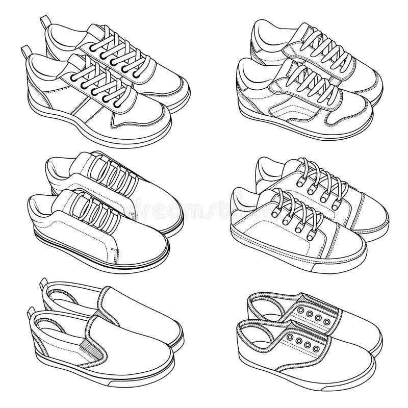 6 ХОЛОДНЫХ ботинок, тапки, вектор, эскиз, комплект притяжки стоковые изображения