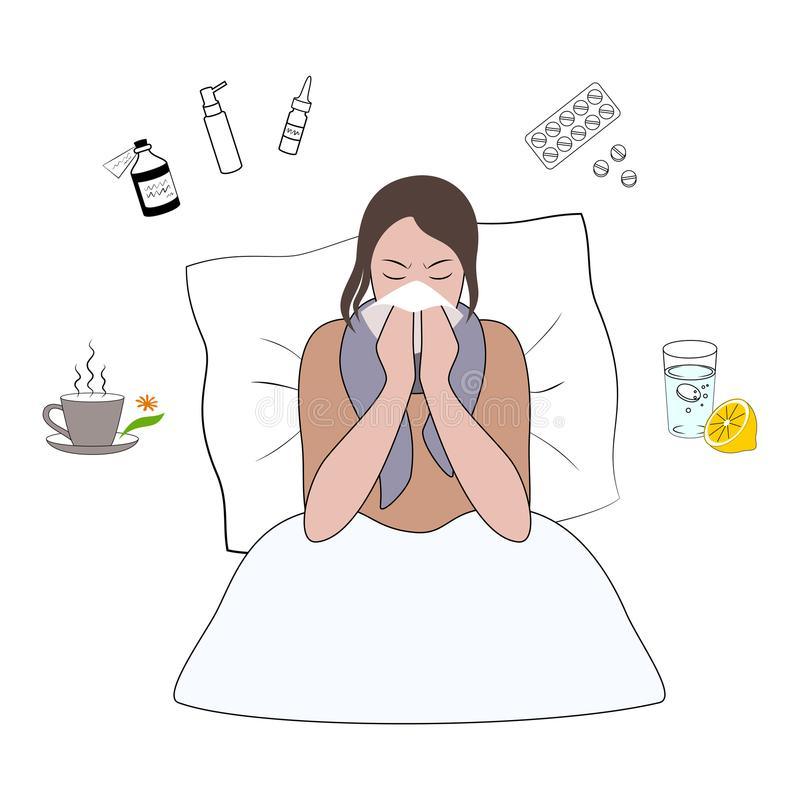 Холод гриппа или шарж симптома аллергии иллюстрация вектора