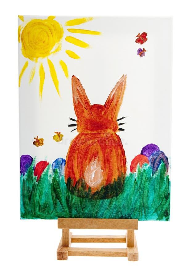 холстина пасха зайчика покрасила стоковая фотография