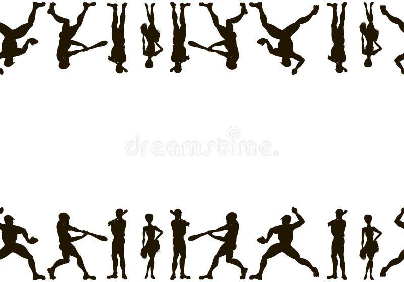 холстина Силуэты вектора нарисованные рукой бейсболисты C бесплатная иллюстрация