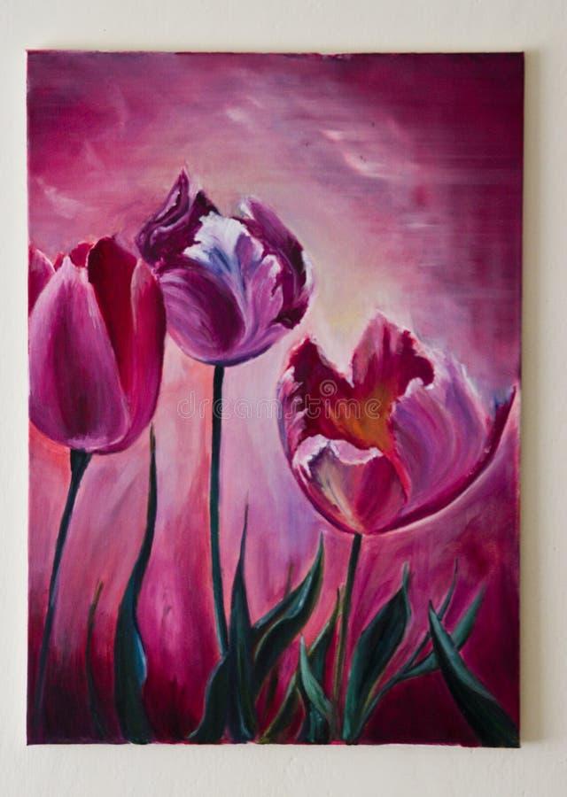 Холст покрашенного художественного произведения - фиолетовый или фиолетовый тюльпанов иллюстрация вектора