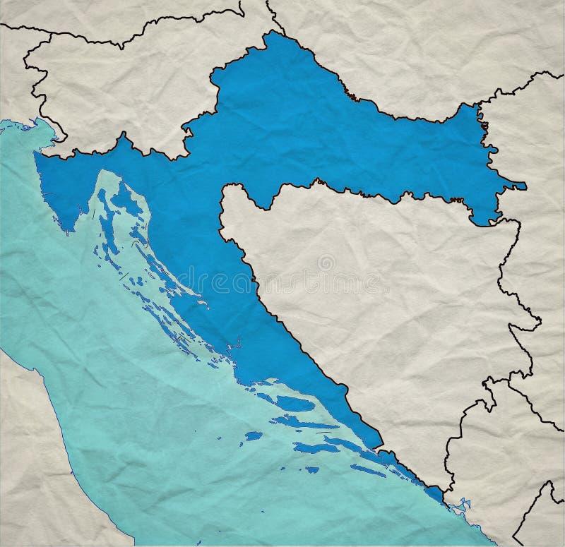 Хорватская винтажная карта стоковые изображения