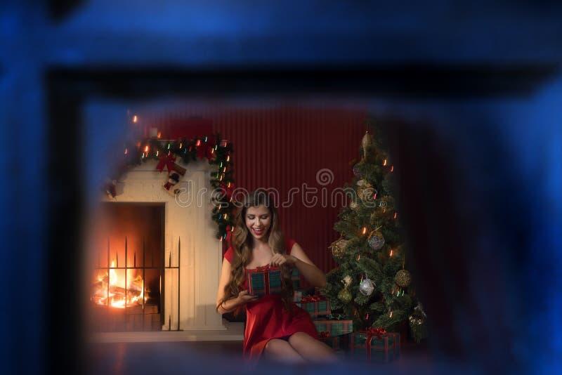 Хорошая женщина в красном платье рядом с рождественским деревом стоковое изображение rf