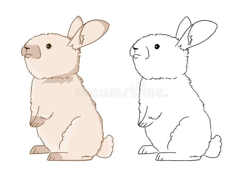 зайчик книжка раскраски для детей иллюстрация вектора