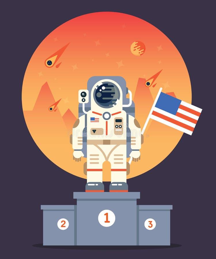 Хорошая концепция полета одного колонизации Марса иллюстрация штока