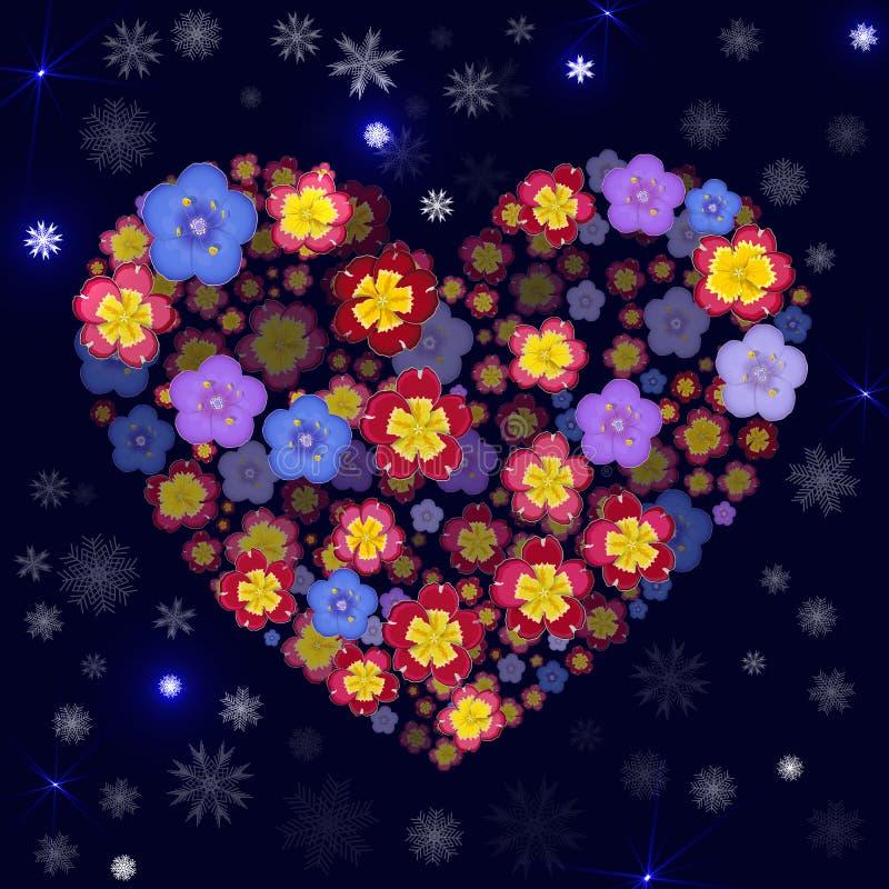 Хорошая предпосылка рождества с снежинками, искрами и флористическим иллюстрация штока
