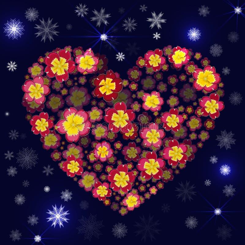 Хорошая предпосылка рождества с снежинками, искрами и флористическим hea иллюстрация штока
