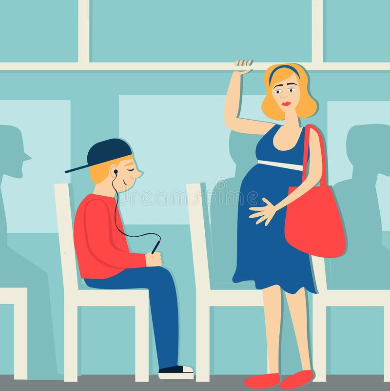 Хорошие образы беременная женщина в шине дать путь к беременной женщине Утомленная женщина иллюстрация штока