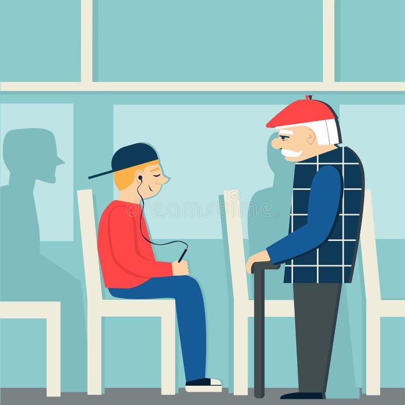 Хорошие образы выбытый человек в шине дать путь к пожилой персоне молодой мальчик с игроком иллюстрация штока