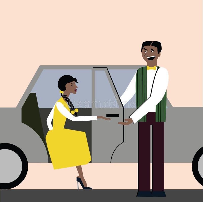 Хорошие образы раскройте дверь для женщины в автомобиле этикет шикарная женщина иллюстрация вектора
