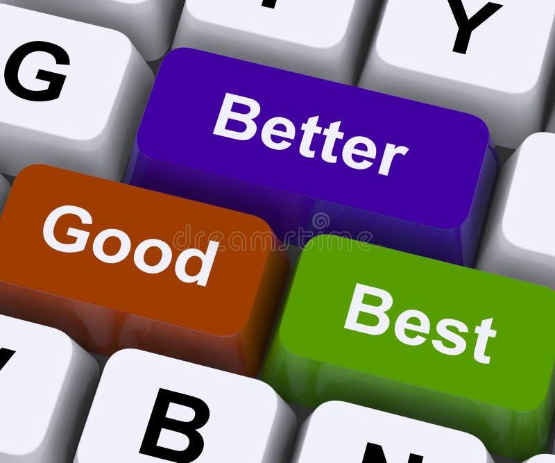 Хорошие лучшие самые лучшие ключи представляют оценки и улучшение иллюстрация штока