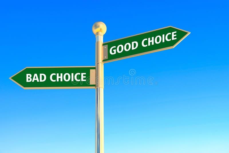 Хороший выбор или плохой выбор бесплатная иллюстрация
