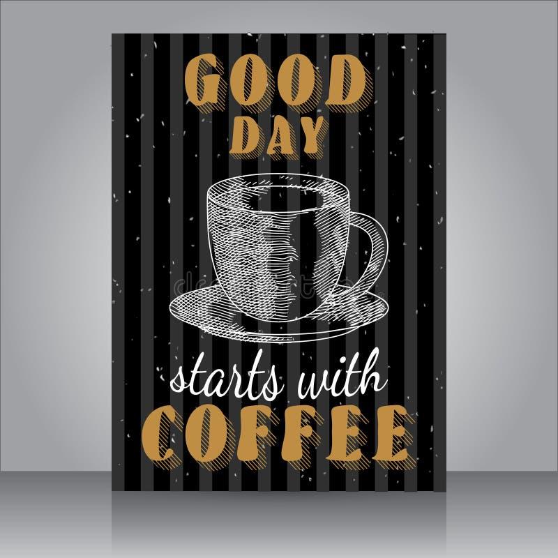 Хороший день начинает с кофе - винтажным плакатом плаката grunge бесплатная иллюстрация