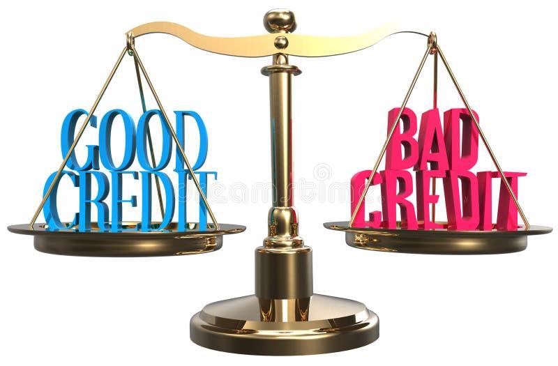 Хороший или плохой кредит вычисляет по маштабу выбор баланса иллюстрация вектора