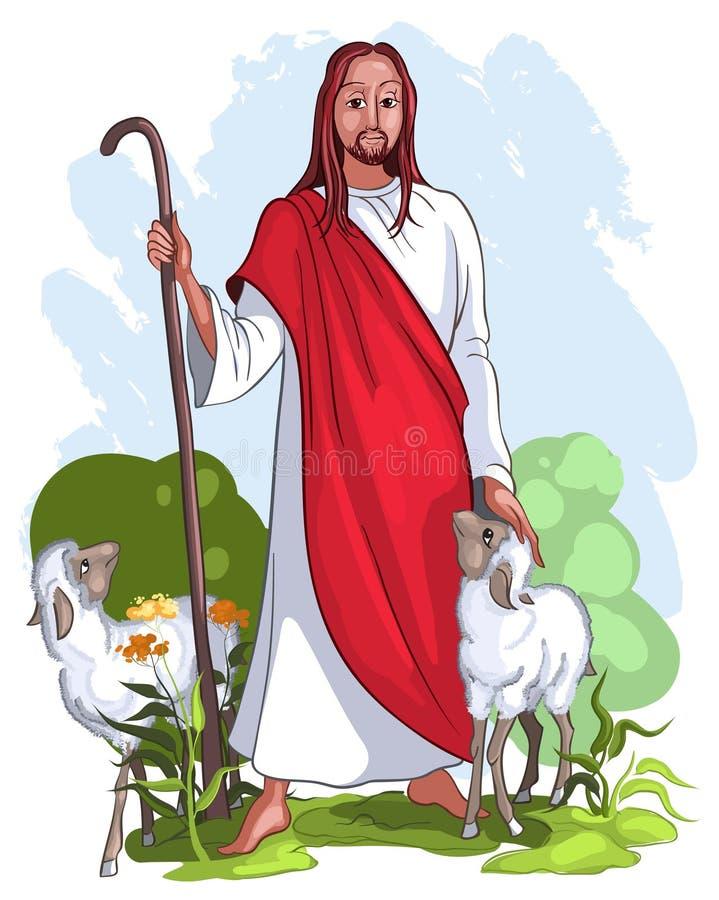 хороший чабан jesus иллюстрация вектора
