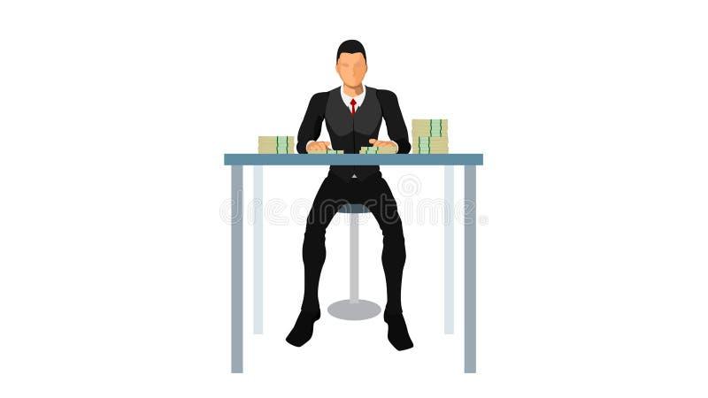 Хорошо одетый бизнесмен сидит в стуле, перед таблицей там серии долларов выглядит элегантным мышечным телом иллюстрация вектора
