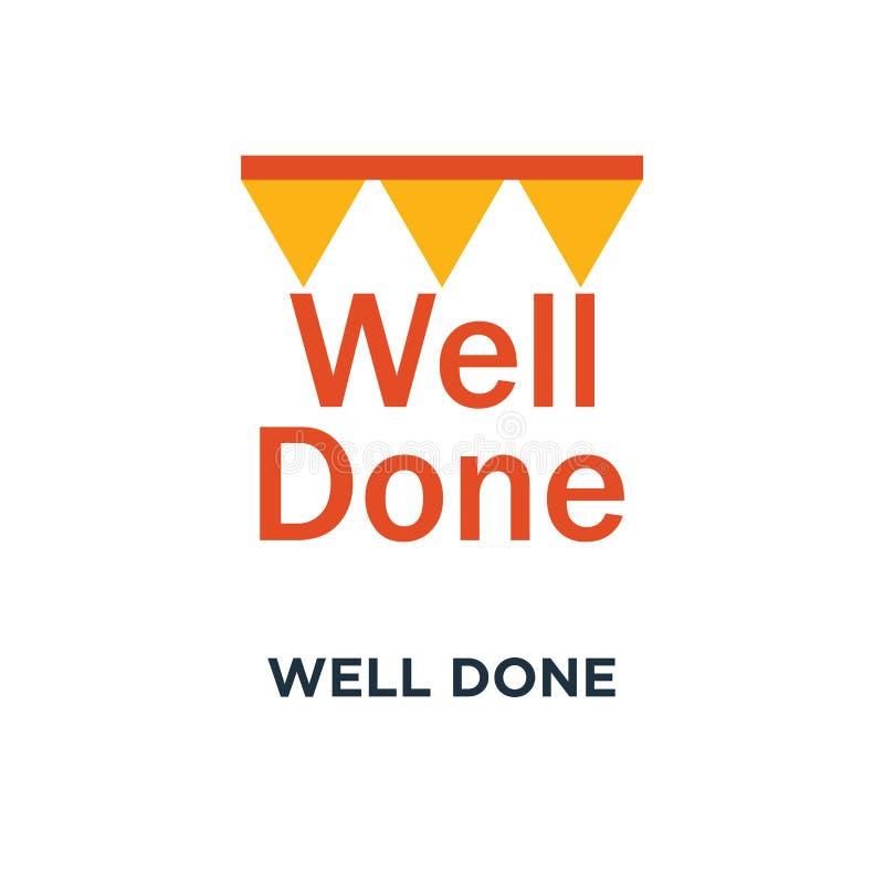 хорошо сделанный значок дизайн символа концепции фразы поздравлениям, поощрение и сообщение мотивации, успешное выполнение, бесплатная иллюстрация