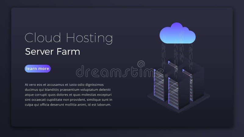 Хостинг облака Данные хозяйничая концепция сервера облака равновеликая Современный дизайн изображения героя технологии облака бесплатная иллюстрация